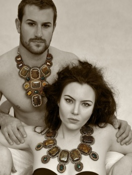 Brows & Makeup by Matt-Yuko.   Jewellery by Daniela Collection.  Models: Asha Barrett & Lawrence Speca