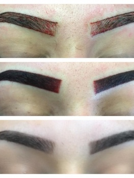 Brow tattoo stages.  Showing 1. The outline, 2. Immediately after tattoo, 3. Tattoo after 4 weeks.